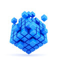 D illustration of blue box shape concept Stock Images
