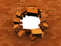 D illustration brick wall demolition over white background Stock Images