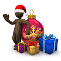 D illustration brown figurine with christmas hat bauble and p presents isolated on white background Stock Photos