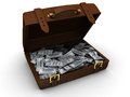 D illustration of brown leather suitcase full of money Royalty Free Stock Photos