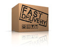 D illustration of cardboard box with fast delivery sign Royalty Free Stock Image