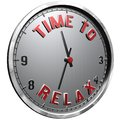 3D Illustration Clock Face with text Time To Relax Royalty Free Stock Photo