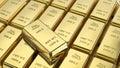 3D illustration closeup group gold bars macro