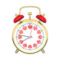 3D illustration closeup isolated gold clock with red hearts