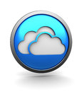 D illustration of cloud storage icon over white background blue colors Stock Photos