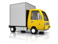 D illustration of delivery truck over white background Royalty Free Stock Image