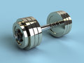 D illustration of dumbbell over blue background Royalty Free Stock Image