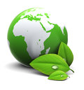 D illustration earth globe green leaf over white background Stock Photography