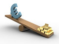 D illustration of euro and golden bricks seesaw Stock Images