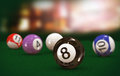 D illustration of focus black eight billiard pool ball on table Stock Photography