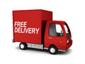 D illustration of free delivery truck over white background Royalty Free Stock Photos