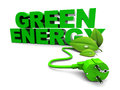 D illustration green energy sign over white background Royalty Free Stock Photography