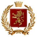 3D illustration Heraldry, red coat of arms. Golden olive branch, oak branch, crown, shield, lion. Isolat. Royalty Free Stock Photo