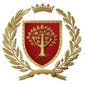 3D illustration Heraldry, red coat of arms. Golden olive branch, oak branch, crown, shield, tree. Isolat. Royalty Free Stock Photo