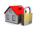 D illustration of house with lock over white background Royalty Free Stock Photo