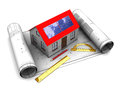 D illustration house solar panel blueprints roll Royalty Free Stock Image
