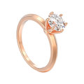3D illustration isolated rose gold traditional solitaire engagem