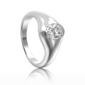 3D illustration isolated white gold or silver diamond ring with