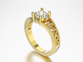 3D illustration isolated yellow gold ring with diamonds