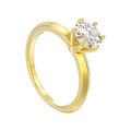3D illustration isolated yellow gold traditional solitaire engag
