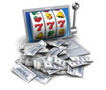 D illustration of jackpot with laptop and money Stock Photos