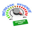 D illustration knob increase revenue set max button to decrease cost Royalty Free Stock Image