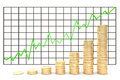 3d illustration: Metal copper-gold coins graph chart stock market  with green line - arrow on a white background isolated. Profit Royalty Free Stock Photo