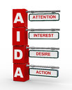 D illustration modern roadsign cubes signpost aida attention interest desire action marketing concept Stock Images
