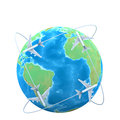 D illustration planes flying around globe Royalty Free Stock Image