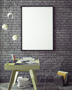 3D illustration of poster frame template, workspace mock up, background,