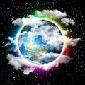 D illustration of rainbow planet earth soft clouds and rainbow atmosphere hight quality render Stock Image