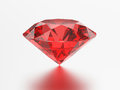 3D illustration red emerald round ruby gemstone with reflection