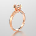 3D illustration red gold traditional solitaire engagement pec he