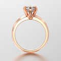 3D illustration red gold traditional solitaire engagement ring w