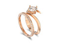 3D illustration rose gold matching band set two rings