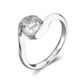 3D illustration silver ring bypass with diamond