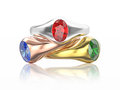 3D illustration three gold diamonds rings with red, blue, white