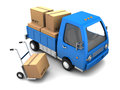 D illustration of truck with cardboard boxes over white background Royalty Free Stock Photography
