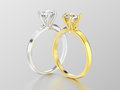 3D illustration two silver and gold traditional solitaire engage