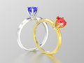 3D illustration two silver sapphire and yellow gold ruby traditi