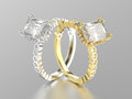 3D illustration two white gold or silver and yellow gold decorat