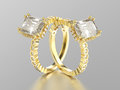 3D illustration two yellow gold diamonds decorative rings with r