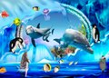 3d illustration wallpaper under sea dolphin, Fish, Tortoise, Coral reefsand water with A snowman is a penguin Royalty Free Stock Photo