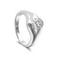 3D illustration white gold or silver classic diamond ring with