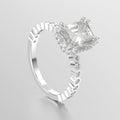 3D illustration white gold or silver diamonds decorative ring w