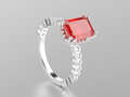 3D illustration white gold or silver ruby decorative ring with r