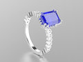 3D illustration white gold or silver sapphire decorative ring w