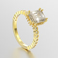 3D illustration yellow gold decorative diamonds ring wi