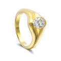 3D illustration yellow gold diamond ring with shadow