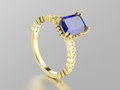 3D illustration yellow gold sapphire decorative ring with reflect